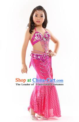 Traditional Indian Children Performance Oriental Dance Pink Dress Belly Dance Costume for Kids