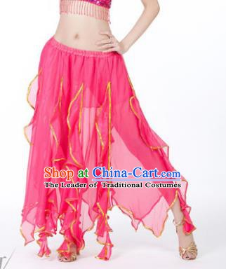 Traditional Indian Belly Dance Rosy Ruffled Skirt India Oriental Dance Costume for Women
