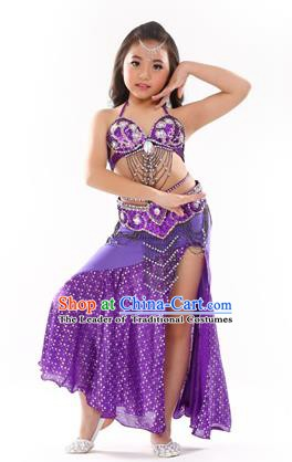 Traditional Indian Children Performance Oriental Dance Purple Dress Belly Dance Costume for Kids