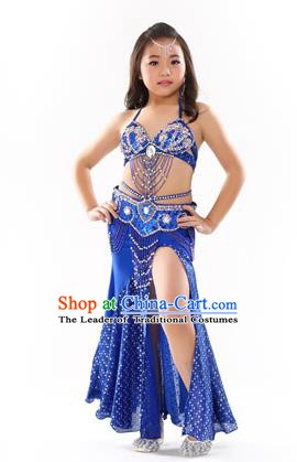 Traditional Indian Children Performance Oriental Dance Royalblue Dress Belly Dance Costume for Kids