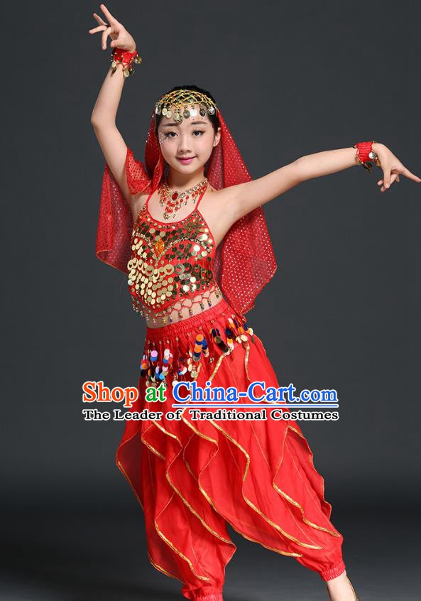 Traditional Indian Children Performance Red Uniforms Oriental Belly Dance Costume for Kids