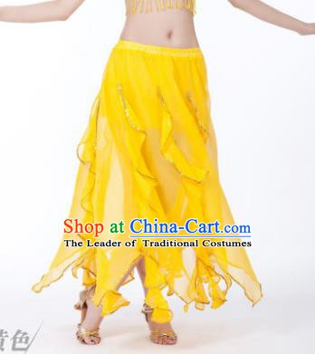 Traditional Indian Belly Dance Yellow Ruffled Skirt India Oriental Dance Costume for Women