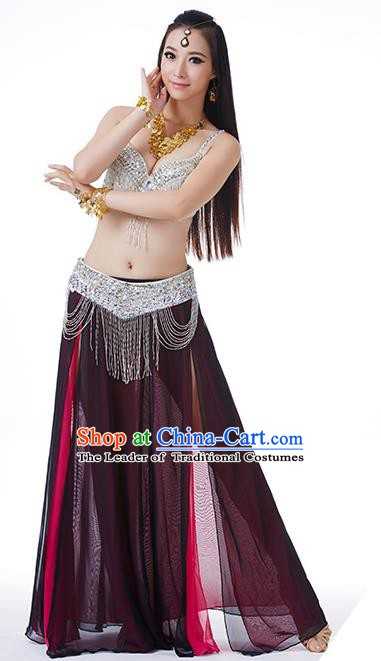 Traditional Indian Performance Rosy and Black Dress Belly Dance Costume for Women