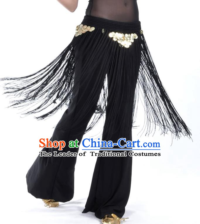 Indian Belly Dance Black Tassel Waist Chain Belts India Raks Sharki Waistband for Women