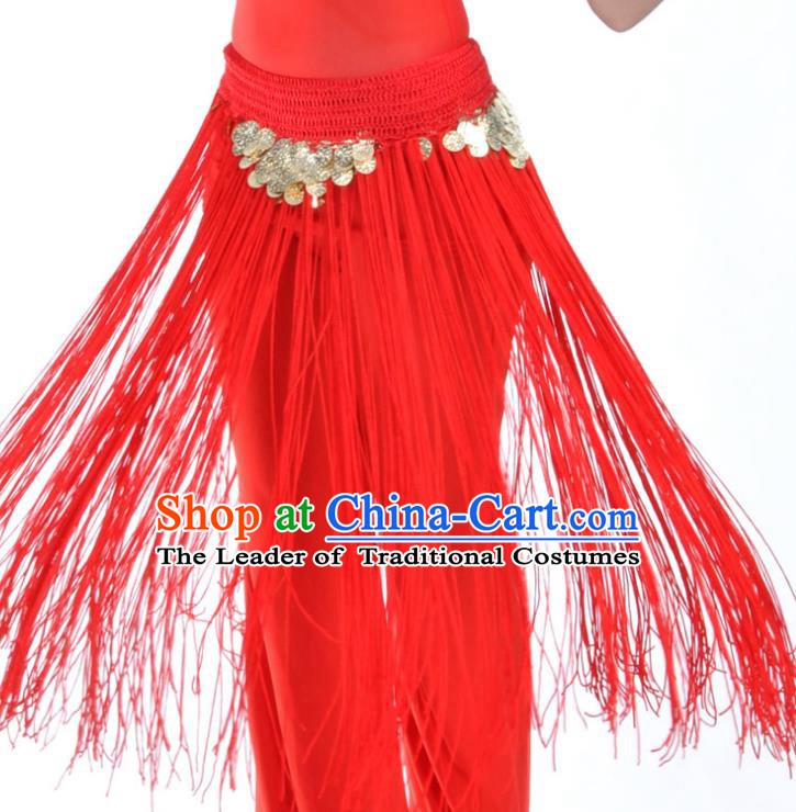 Indian Belly Dance Red Tassel Waist Chain Belts India Raks Sharki Waistband for Women
