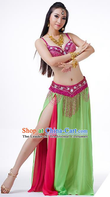 Traditional Indian Performance Rosy and Green Dress Belly Dance Costume for Women