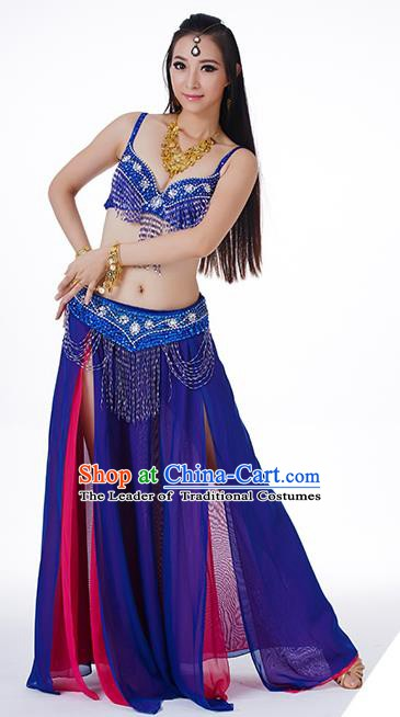 Traditional Indian Performance Rosy and Royalblue Dress Belly Dance Costume for Women