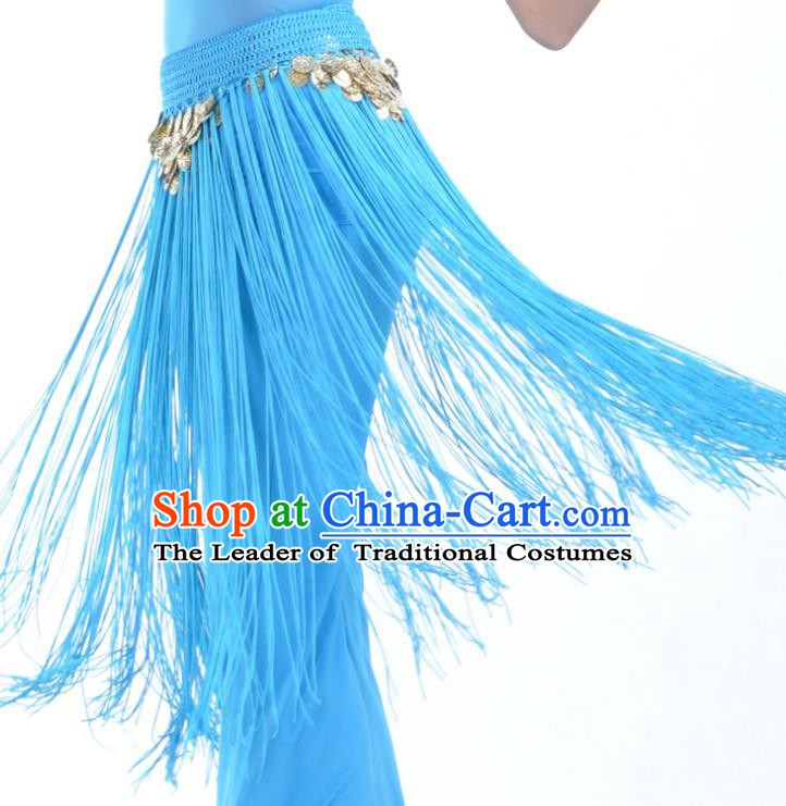 Indian Belly Dance Blue Tassel Waist Chain Belts India Raks Sharki Waistband for Women