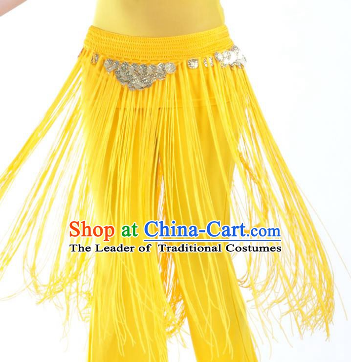 Indian Belly Dance Yellow Tassel Waist Chain Belts India Raks Sharki Waistband for Women