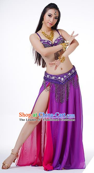 Traditional Indian Performance Rosy and Purple Dress Belly Dance Costume for Women