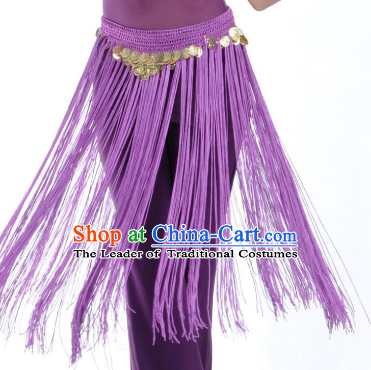 Indian Belly Dance Purple Tassel Waist Chain Belts India Raks Sharki Waistband for Women