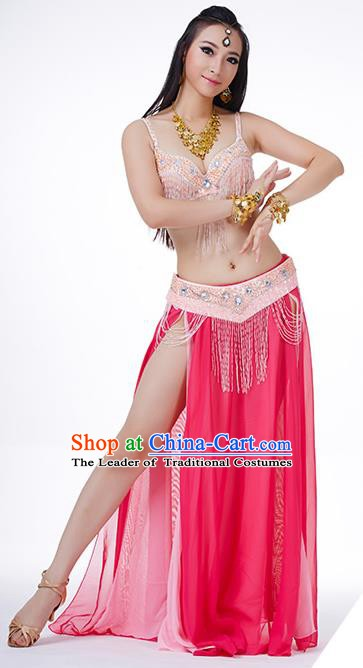 Traditional Indian Performance Rosy and Pink Dress Belly Dance Costume for Women