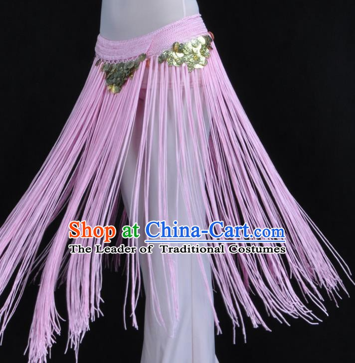 Indian Belly Dance Pink Tassel Waist Chain Belts India Raks Sharki Waistband for Women