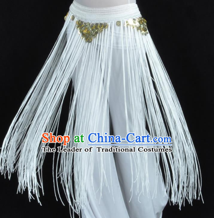Indian Belly Dance White Tassel Waist Chain Belts India Raks Sharki Waistband for Women