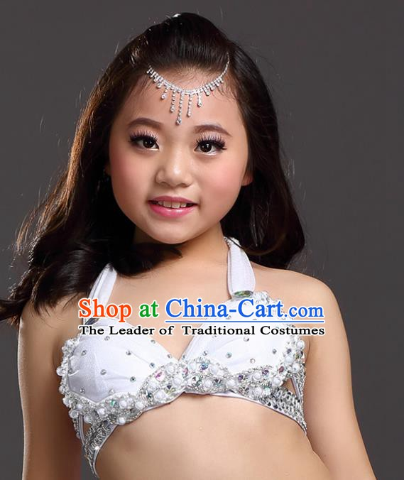 Indian Belly Dance White Brassiere Asian India Oriental Dance Costume for Kids