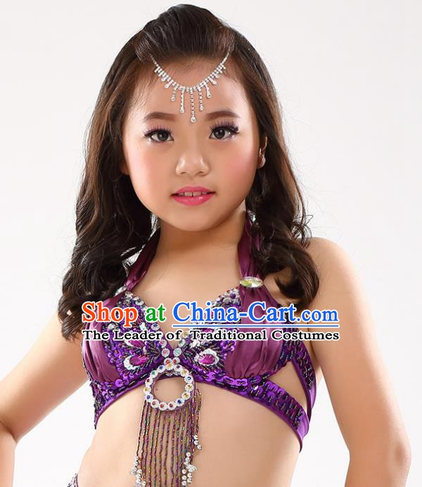 Indian Belly Dance Purple Brassiere Asian India Oriental Dance Costume for Kids