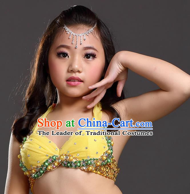 Indian Belly Dance Yellow Brassiere Asian India Oriental Dance Costume for Kids