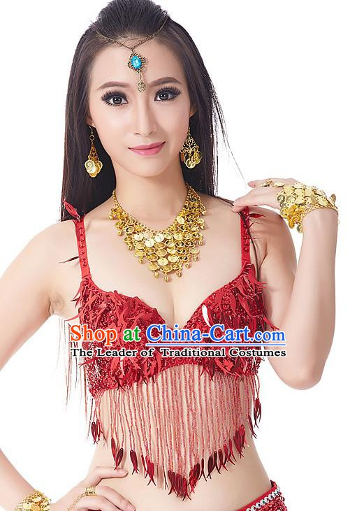 Indian Belly Dance Red Beading Brassiere Asian India Oriental Dance Costume for Women