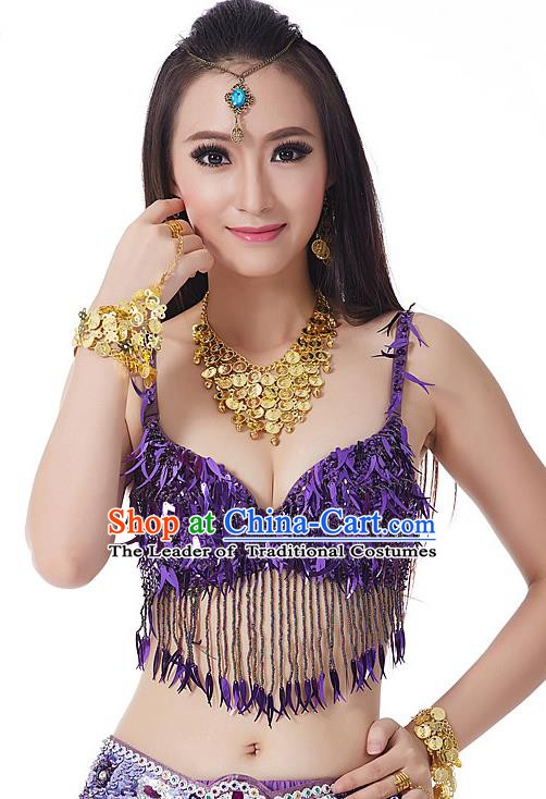 Indian Belly Dance Purple Beading Brassiere Asian India Oriental Dance Costume for Women