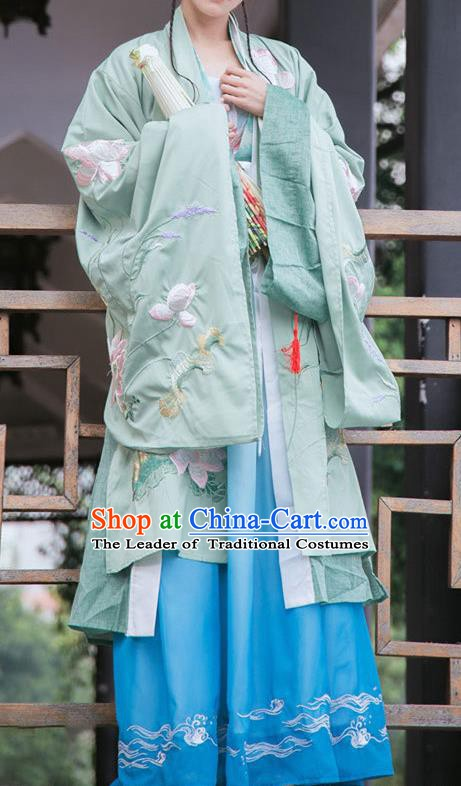 Traditional Chinese Ancient Hanfu Clothing Ming Dynasty Princess Embroidered Lotus Costume for Women