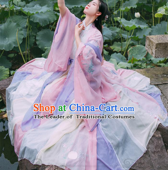 Chinese Ancient Jin Dynasty Court Princess Embroidered Costumes Complete Set for Women