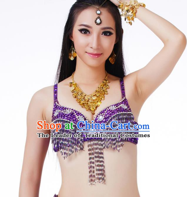 Traditional Belly Dance Purple Tassel Brassiere Upper Outer Garment Indian Oriental Dance Costume for Women