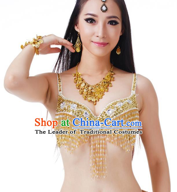 Traditional Belly Dance Golden Tassel Brassiere Upper Outer Garment Indian Oriental Dance Costume for Women