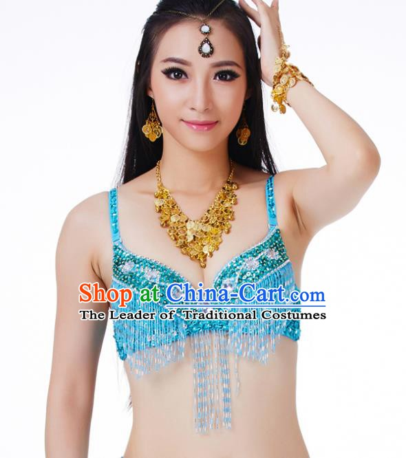 Traditional Belly Dance Blue Tassel Brassiere Upper Outer Garment Indian Oriental Dance Costume for Women