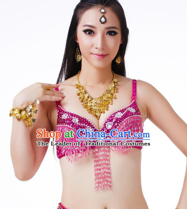 Traditional Belly Dance Rosy Tassel Brassiere Upper Outer Garment Indian Oriental Dance Costume for Women