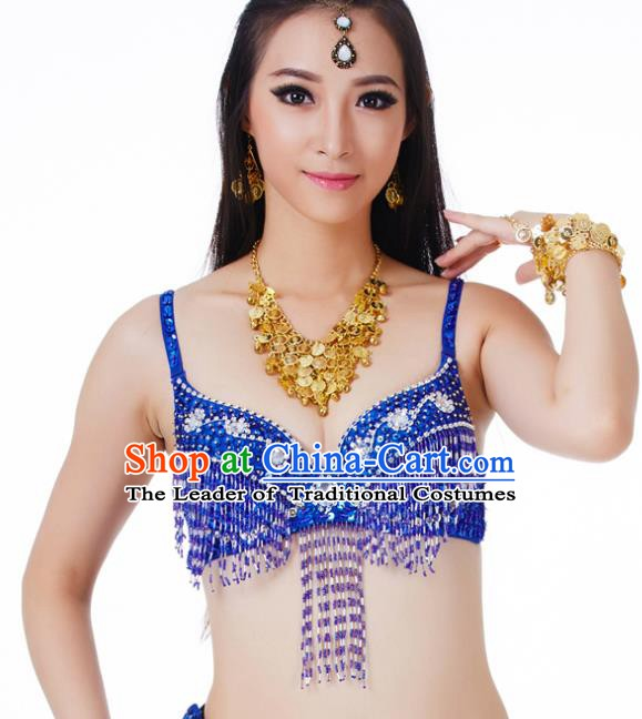 Traditional Belly Dance Royalblue Tassel Brassiere Upper Outer Garment Indian Oriental Dance Costume for Women