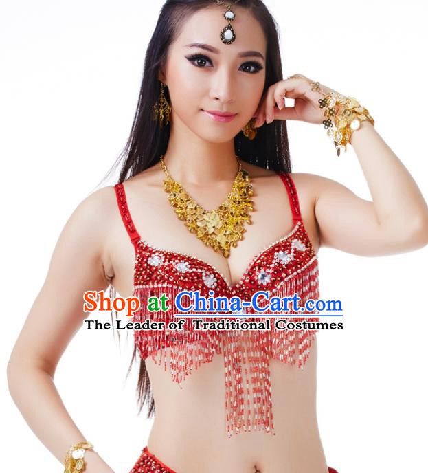 Traditional Belly Dance Red Tassel Brassiere Upper Outer Garment Indian Oriental Dance Costume for Women