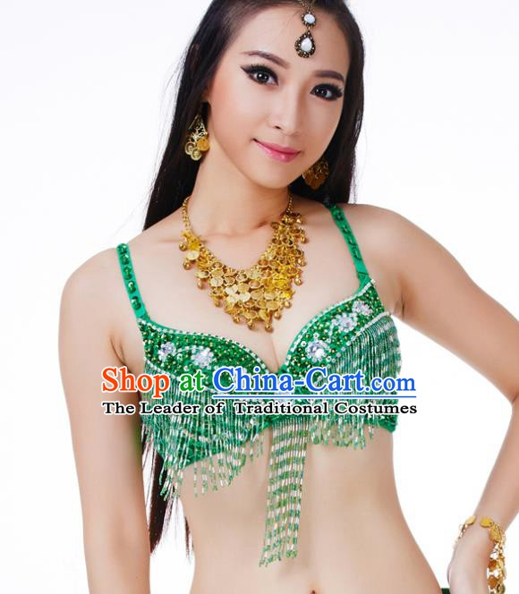 Traditional Belly Dance Green Tassel Brassiere Upper Outer Garment Indian Oriental Dance Costume for Women