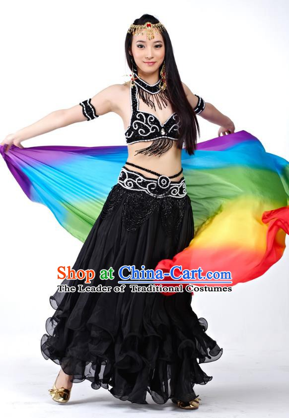 Traditional Oriental Dance Costume Indian Belly Dance Black Dress for Women
