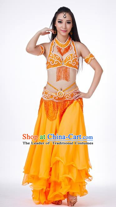 Traditional Oriental Dance Costume Indian Belly Dance Orange Dress for Women