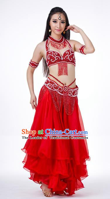 Traditional Oriental Dance Costume Indian Belly Dance Red Dress for Women