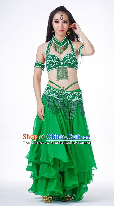 Traditional Oriental Dance Costume Indian Belly Dance Green Dress for Women
