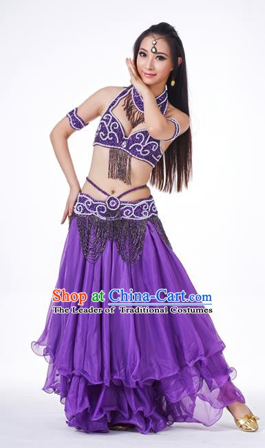 Traditional Oriental Dance Costume Indian Belly Dance Purple Dress for Women