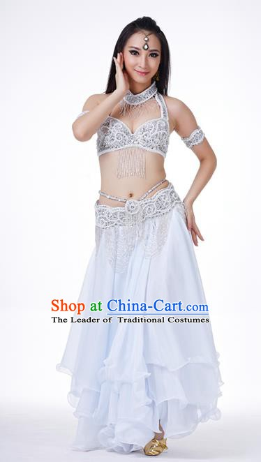 Traditional Oriental Dance Costume Indian Belly Dance Argentate Dress for Women
