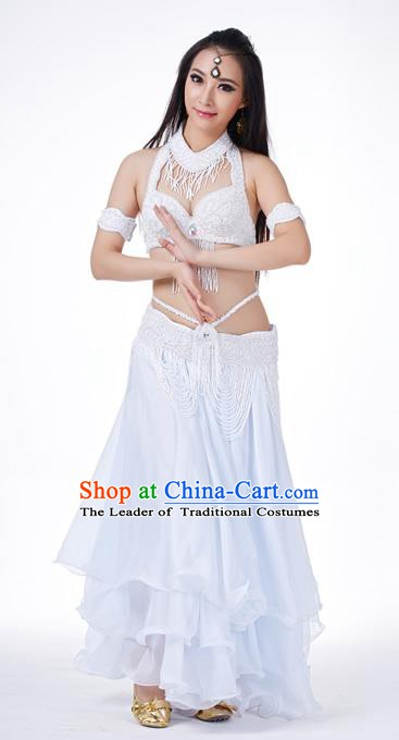 Traditional Oriental Dance Costume Indian Belly Dance White Dress for Women