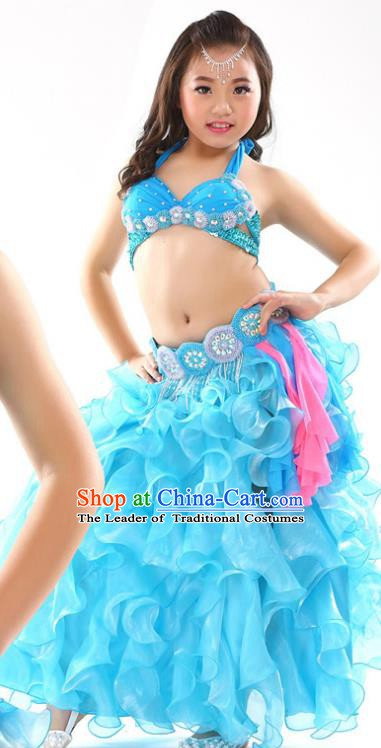 Traditional Children Oriental Dance Costume Indian Belly Dance Blue Dress for Kids