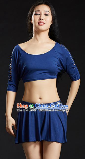 Traditional Oriental Yoga Dance Deep Blue Costume Indian Belly Dance Clothing for Women