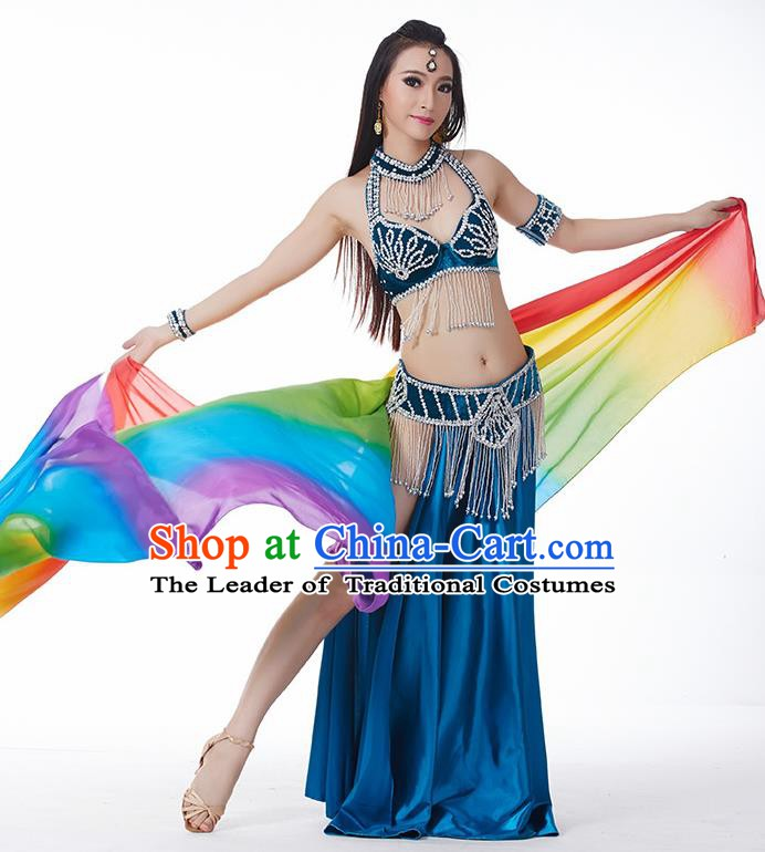 Traditional India Oriental Bollywood Dance Velvet Costume Indian Belly Dance Peacock Blue Dress for Women