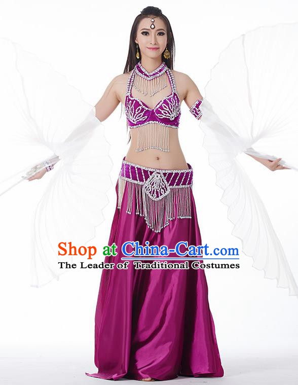 Traditional India Oriental Bollywood Dance Velvet Costume Indian Belly Dance Purple Dress for Women