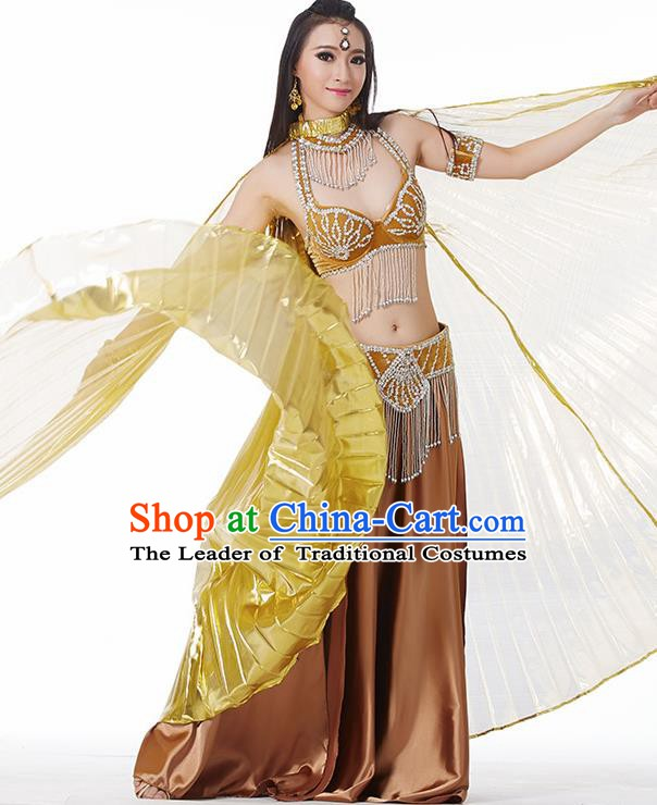 Traditional India Oriental Bollywood Dance Velvet Costume Indian Belly Dance Golden Dress for Women