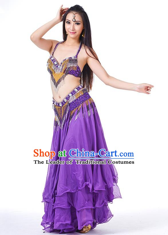 Traditional Oriental Bollywood Dance Costume Indian Belly Dance Purple Dress for Women