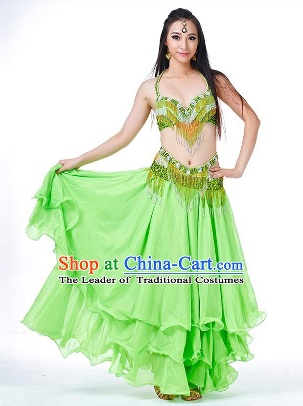 Traditional Oriental Bollywood Dance Costume Indian Belly Dance Green Dress for Women