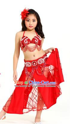 Traditional Children Oriental Bollywood Dance Costume Indian Belly Dance Red Dress for Kids