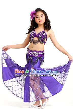 Traditional Children Oriental Bollywood Dance Costume Indian Belly Dance Purple Dress for Kids