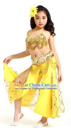 Traditional Children Oriental Bollywood Dance Costume Indian Belly Dance Yellow Dress for Kids