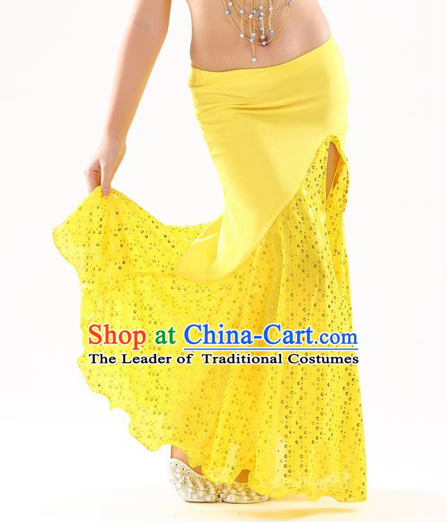 Traditional India Oriental Bollywood Dance Yellow Skirt Indian Belly Dance Costume for Kids